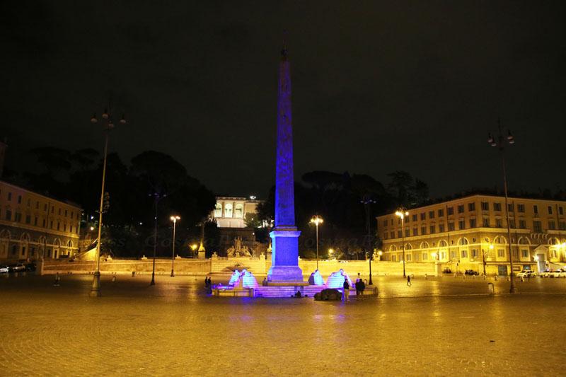 La fontana dei leoni di Piazza del Popolo